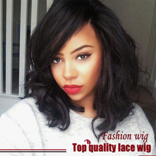Hot Selling Top Quality Brazilian Natural Wave Short Bob Wig Black Synthetic Lace Front Wigs Heat Resistant Synthetic Hair Wigs