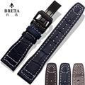 22mm Negro de Cuero Genuino Remache Reloj de Despliegue Band Correa Para Relojes de MARCA Gran Piloto piloto IW510401 marrón azul