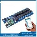 TCP IP LAN RJ45 pines 16 puerta placa de relés de salida del controlador junta módulo de control remoto para la automatización del hogar