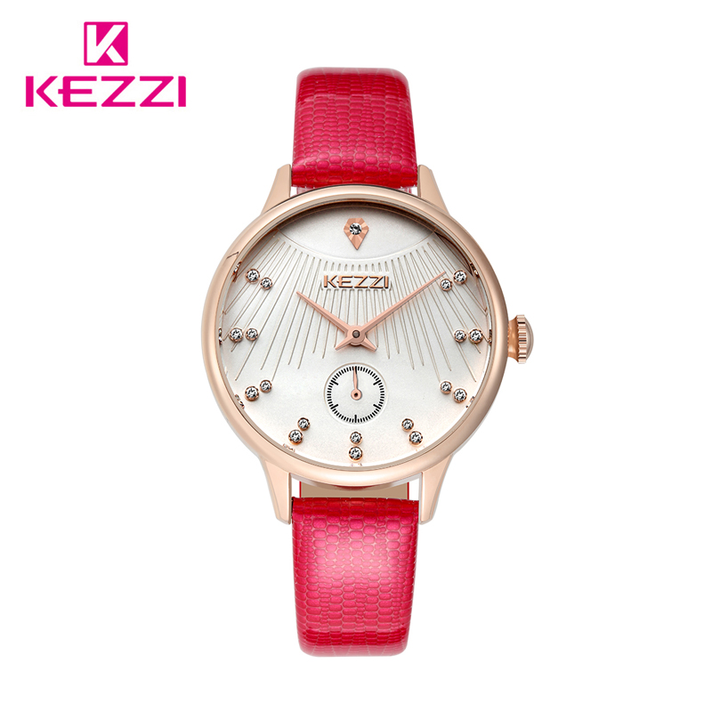 Top Brand Kezzi Inlaid Rhinestone Waterproof Leather Wristwatches Trendy Double Movement Quartz Clock Ladies Dress Watch Relogio от Aliexpress INT