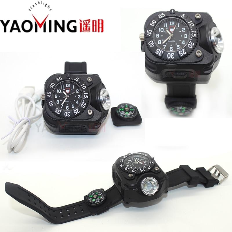 2016 newest CREE Q5 linterna led torch lanterna night outdoor sports wrist watches USB charging watch flashlight with compass