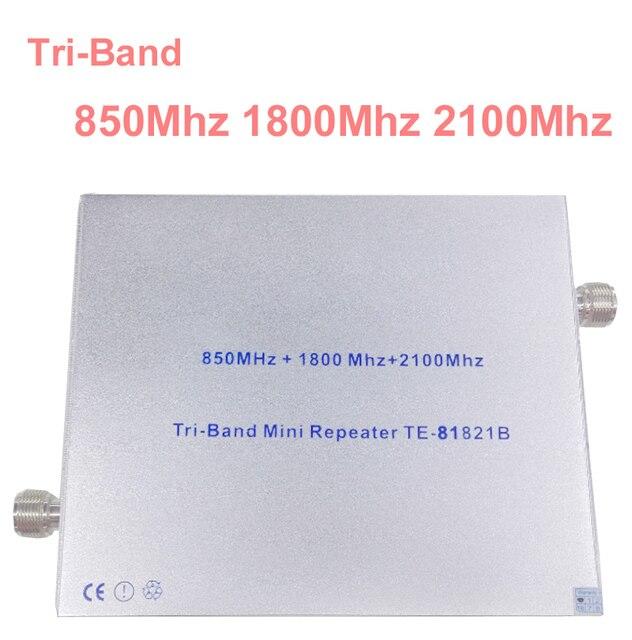 27 дб усиления 65 дб трехдиапазонный 850 МГЦ 1800 МГЦ 2100 МГЦ усилитель повторителя booster DCS ретранслятор 3 Г booster gsm репитер GSM УСИЛИТЕЛЬ