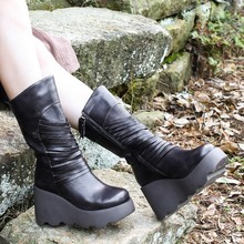 2016 Retro Style Handmade Genuine Leather Women Martin Boots Original Design Side Zipper Platform Wedge Ankle Boots