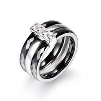 CMAJOR Retro Style Anello In Acciaio 9mm Larghezza Una Fila CZ promessa Anello di Ceramica Nero Argento Placcato Uomini Anello Wedding Band anello