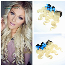 Best quality brazilian blond hair with closure 3 bundles with 4*4 lace closure dark roots omber human hair with lace closure