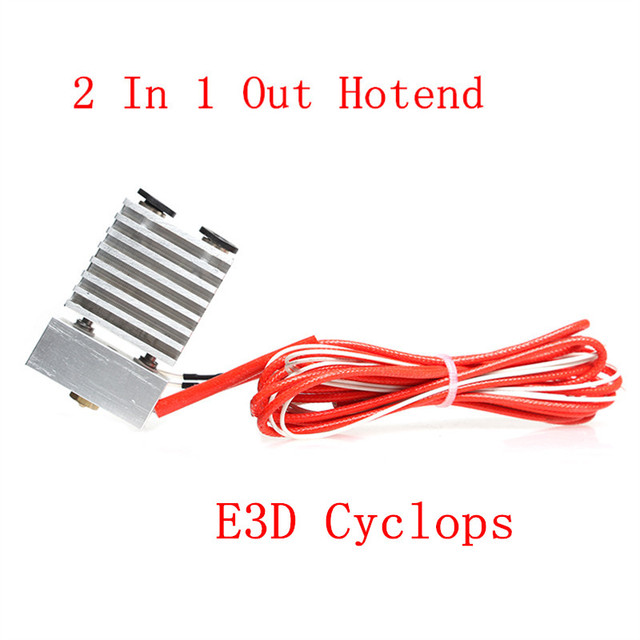 3D Printer Parts Long distance All metal E3D Cyclops 2 In 1 Out Hotend for 0.4mm ,1.75mm Copper Fittings Dual Color Switching