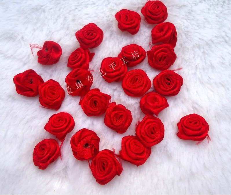 Lovely Red Tiny 1 5cm Rose Flower Satin Ribbon Appliques Great For