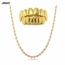 9b0041d3e61a JINAO New Custom Fit oro ColorPlated Hip Hop dientes grillz tapas Top    Bottom Grill Set