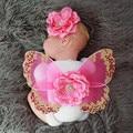 Детские костюмы фотография новорожденного костюм бабочки цветок головные уборы + крылья бабочки набор для новорожденных фото опора