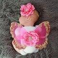 Traje de bebé fotografía recién nacido traje de mariposa flor headwear + alas de mariposa conjunto bebé apoyo de la fotografía