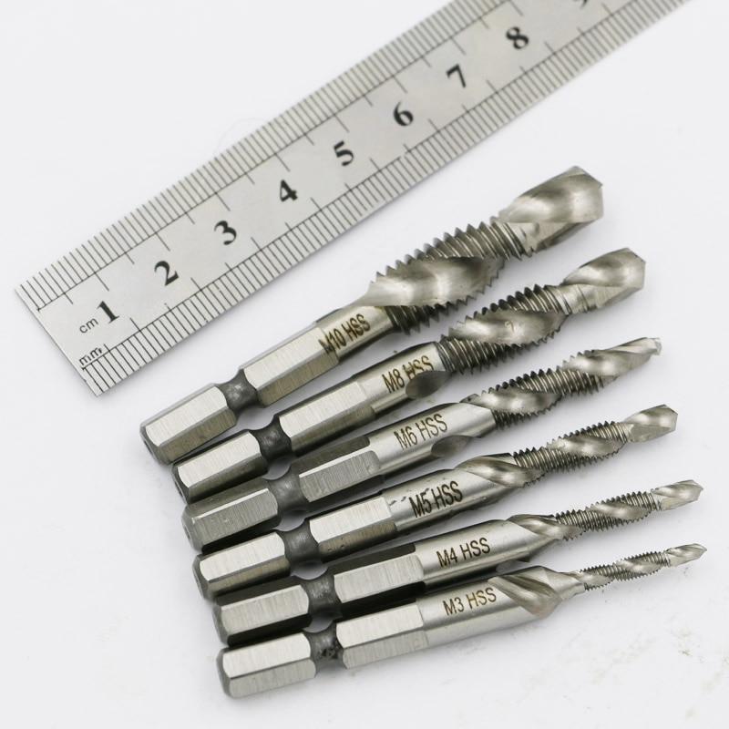 Drill Bits Hss Tap Countersink Deburr Set Metric Combination Bit M3 M4 M5 M6 M8 M10 High Speed Steel