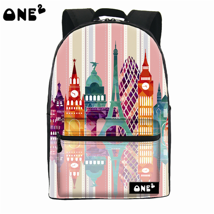2016 ONE2 Design color of building pattern nylon printing school bag cute backpack with laptop compartment
