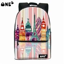 2016 ONE2 Дизайн цвет строительство pattern нейлон печати мешок школы милый рюкзак с ноутбуком отсека для девочек-подростков