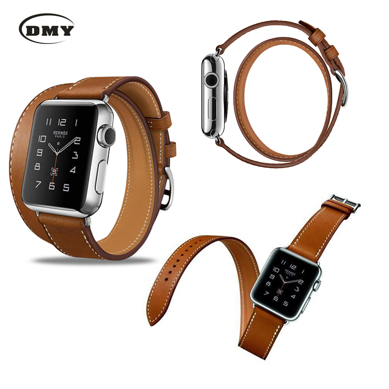 2016 The Extra Long Genuine Leather Strap For Apple Watch Band Double Tour Bracelet Leather Watchband 38mm/42mm Available