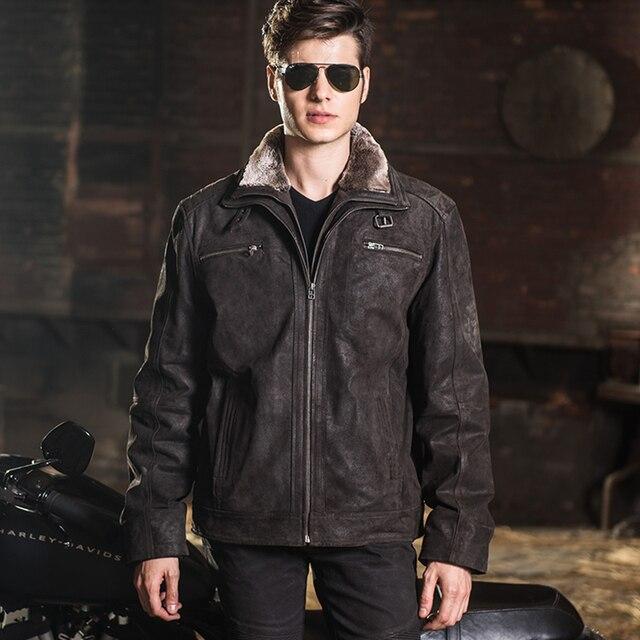 fcc8700ae2e 2016 hombres chaqueta de cuero real piel de cerdo genuino chaqueta de cuero  de los hombres