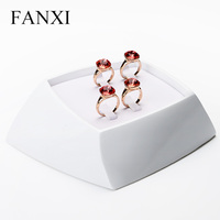 Exquisite Finger Ring Stand Trays White Resin 4pcs Finger Ring Jewelry Display Trays Counter Expositor