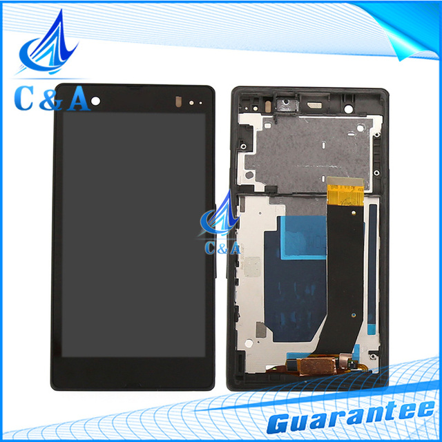 1 peça frete grátis peças de reposição de tela para sony xperia Z L36h LT36 C6603 display lcd com digitador touch + quadro