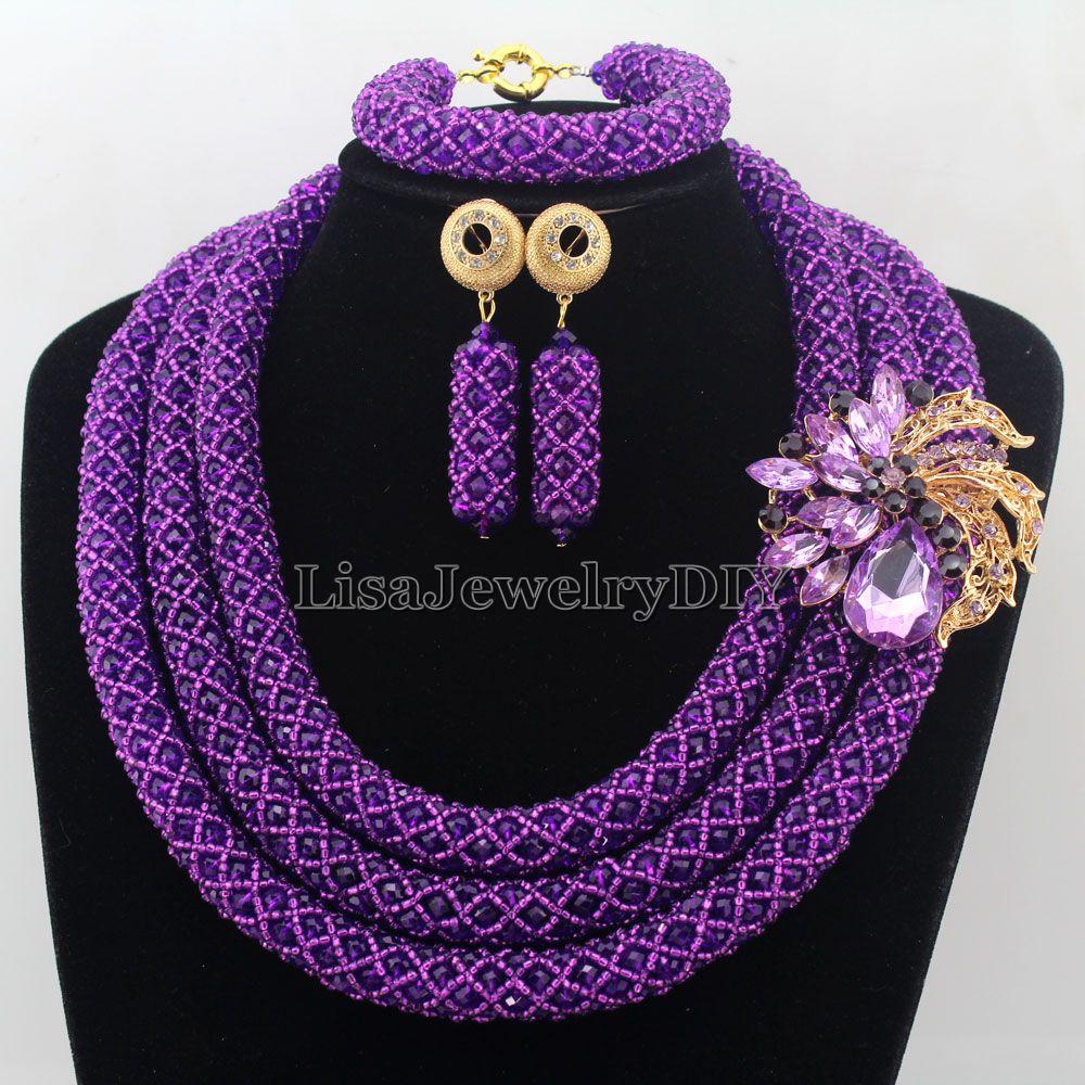 Main Déclaration Collier Cristal Femmes Colliers Costume Bijoux Mariage  Nigérian Perles Africaines Ensemble de Bijoux HD7483 699c9b40d0a