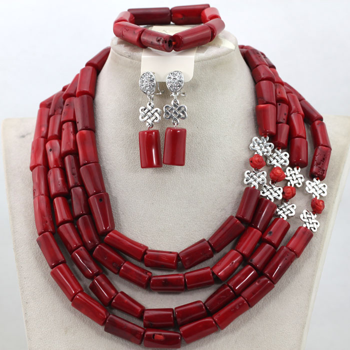 Free Shipping! 2017 Latest Red Coral Bridal Indian African Jewelry Set Red&Silver Real Coral Beads Necklace Set CNR516 7 пряди red coral
