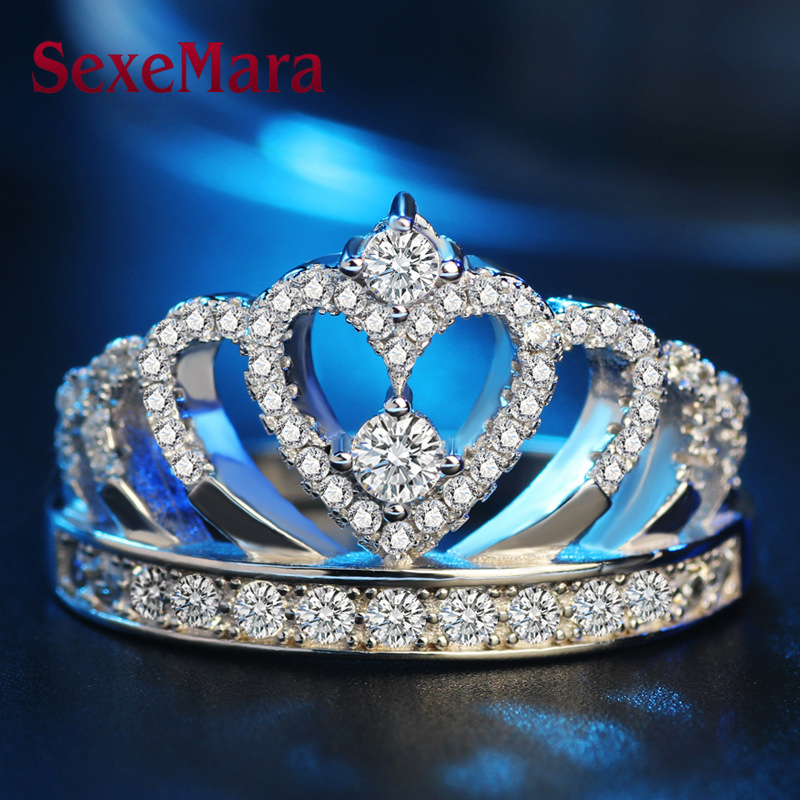 925 Sterling Silver Jewelry Women Crown Rings Handmade 1 5ct Imitation Cz Engagement Band Ring