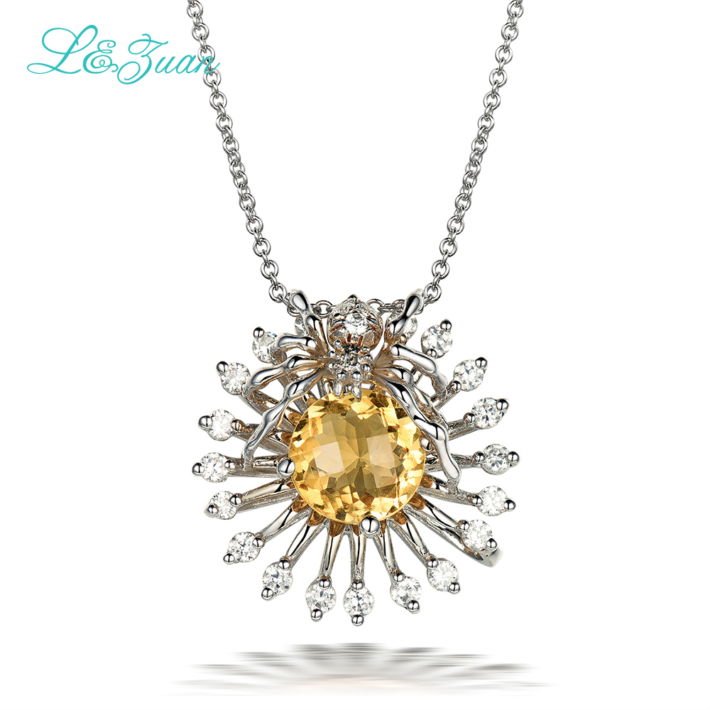 l&zuan 925 Sterling Silver Natural 1.73ct Citrine Trendy Yellow Stone Pendant Necklace For Women Spider shape fashion jewelry цены онлайн
