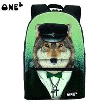 2016 ONE2 Дизайн милая собака шаблон печати горячей продажи колледж холст молнию сумки мешок женщин леди оптовые дешевые рюкзак