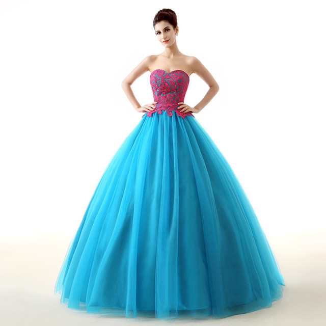 4ee191f3d In Stock Real Photo Vestidos De Quince Anos 2016 Long Tulle Peach And Blue  Sweetheart Quinceanera