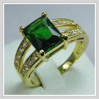ювелирные изделия бренд кожа кольцо ювелирные изделия 18 к желтый золото ГП изумруд циркон кольцо размер8 и бесплатная доставка