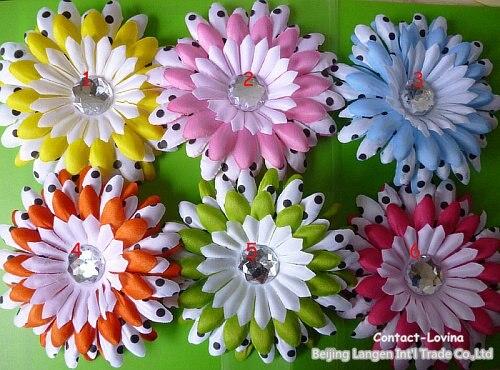 """Рекламный цветок+ зажим+ повязка на голову 12 пар s """" Горошек Гербера Маргаритка цветок"""