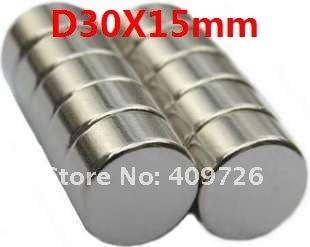 3 шт./лот, N35 NdFeB D30mm x15mm сильный магнит магнитом постоянный магнит