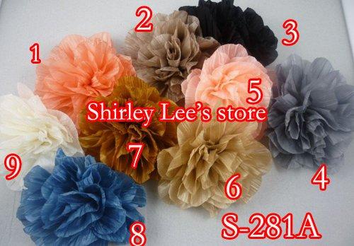 72X(13 см) необычная большая брошь цветок из ткани, для DIY повязка на голову, цветок одежды, смешанный 9 цветов- по EMS