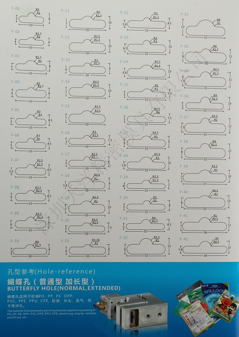 25*6*9 мм Пневматический ПВХ карты Дырокол бабочка