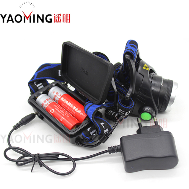 High power led headlamp CREE XM-L T6 2300LM cree led zoomable rechargeable head lamp+2×18650 battery+charger bike headlight