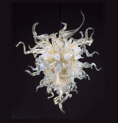 Modern Custom Made LED Bulbs Source Indoor Decorative Lighting Hand Blown Glass Shade Hotel Lobby Chandelier