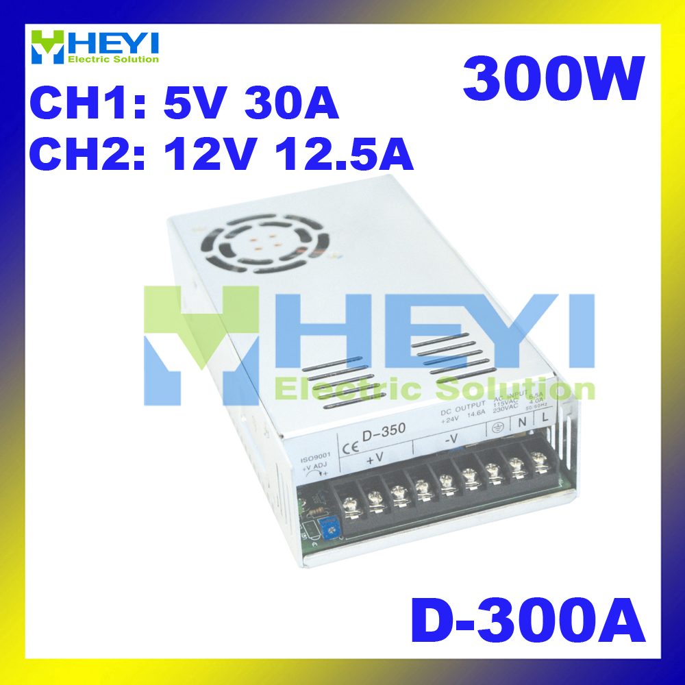 110 / 220VAC 300W dual switching power supply D-300A 5V 30A & 12V 12.5A ac to dc voltage converter110 / 220VAC 300W dual switching power supply D-300A 5V 30A & 12V 12.5A ac to dc voltage converter