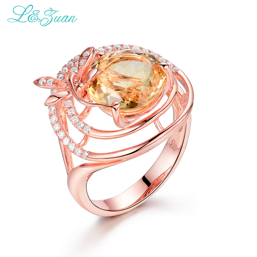 l zuan Natural Citrine Yellow Stone Prong Setting Trendy Sterling Silver Jewelry Ring For Women 925