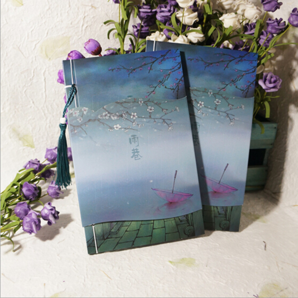 [ Watercolor]  Chinese Style Retro Artistic Handworking Gift Delicate Planners Vintage Beautiful Collection Organizer Notebook freeshipping retro handmade stitching binding cloth covered notebook chinese style lotus printing notebook