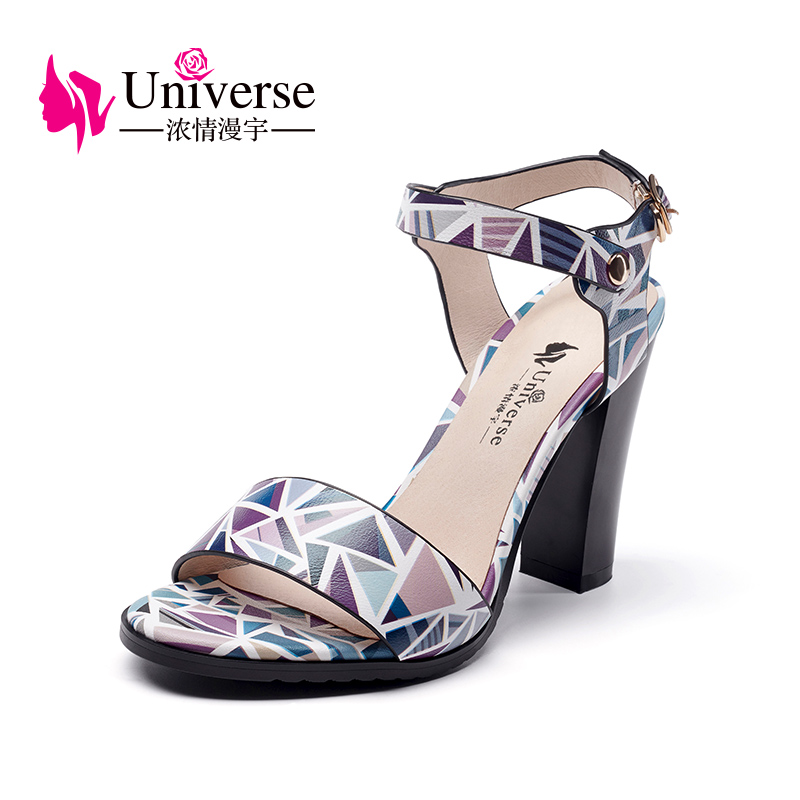 Universe Casual Sandals Genuine Leather Shoes Woman Square Heel G021