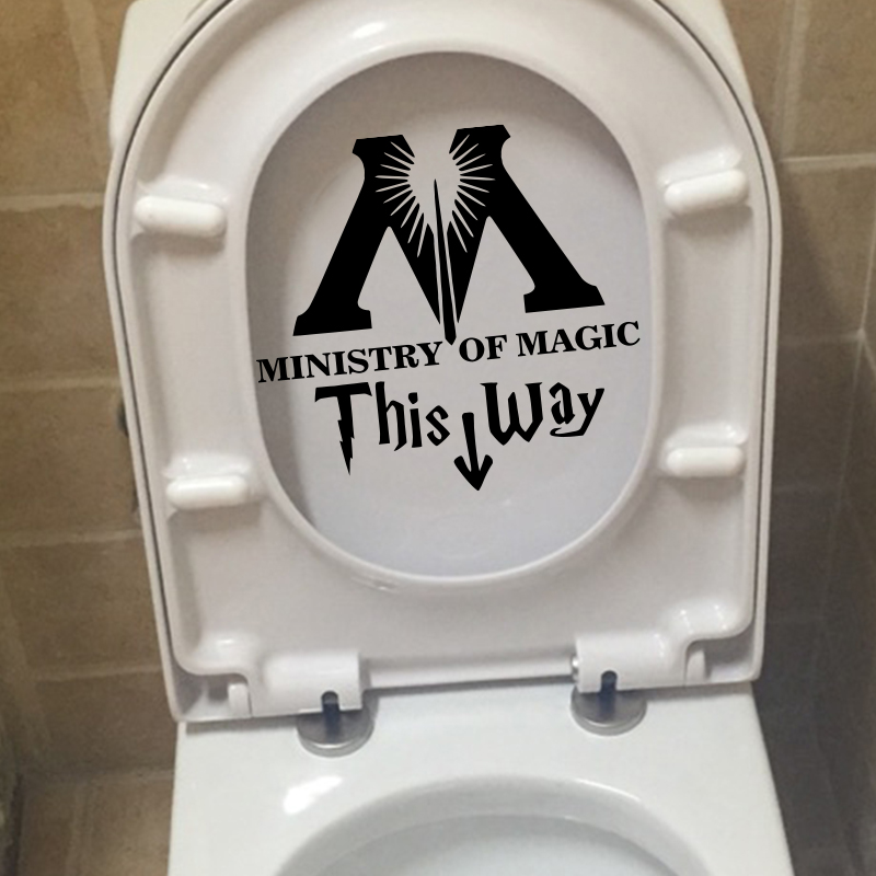 Ministry Of Magic This Way Bathroom Toilet Stickers Home Decor Toilet Lid Decal Funny Harry Potter Parody Art Rest Room Decals