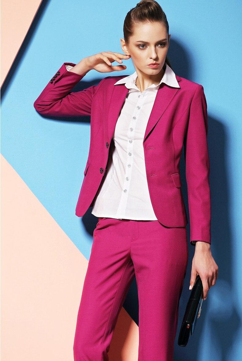 Rosa caliente Pantalones de traje para las mujeres por encargo de ...