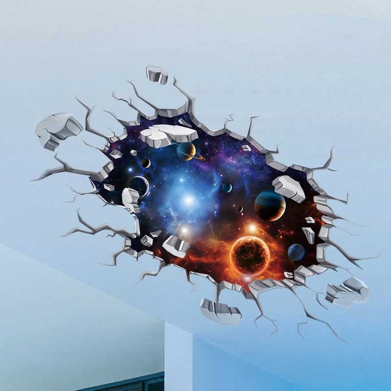 [SHIJUEHEZI] Universum Himmelskörper 3D Decke Aufkleber Vinyl Wandkunst für Kinder Zimmer Wohnzimmer Dekoration Boden Aufkleber