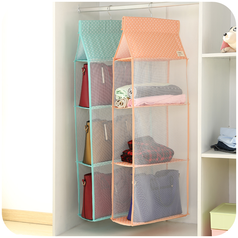 3/4Layers Storage Bag For Clothes Toys Bags Mesh Dot Design Wardrobe  Organizer Space Saver Pink/Blue House Organization 2016 New In Storage Bags  From Home ...
