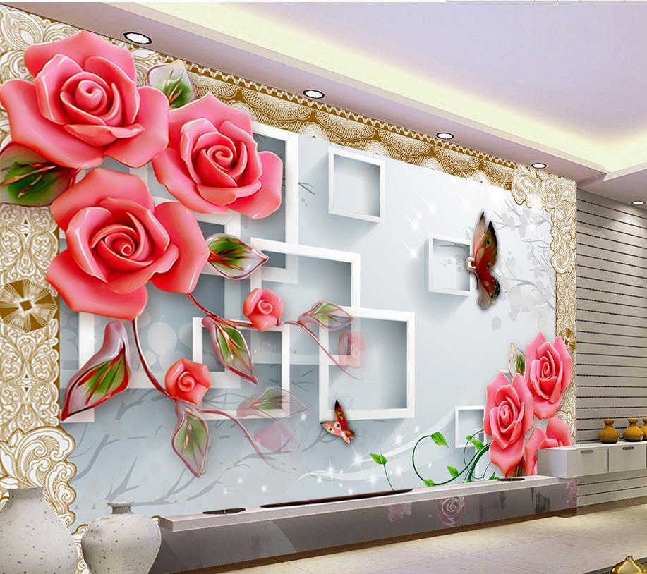3d Tv Backdrop Embossed Box Rose Flowers 3d Wallpaper Flower 3d