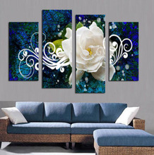 Hot Sell 4 panels Bright-Colored Large Flower Picture Modern Home Wall Decor Canvas Print Painting For House Decorate