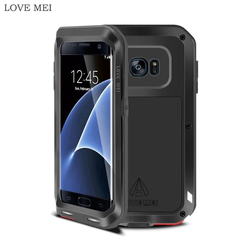 AMOUR MEI Pour Samsung S7 bord Housse De Luxe Antichoc Dur en aluminium Silicone Armure Cas de Téléphone pour Samsung S7 bord Couverture Arrière