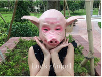 New Halloween Party Props Hot Pig Head Mask Latex Rubber Scary Creepy Adult Size Halloween Animal Full Head Mask For Wholesale