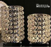 fishon 2pcs/set silver metal candle holder candlestick crystal candelabra for home decoration candle hodlers ZT038