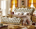 European wood carved wedding furniture king size bed antique gold 0409-FA312