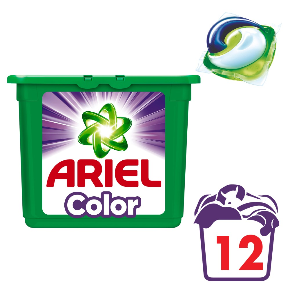 Washing Powder Capsules Ariel Capsules 3in1 Color (12 Tablets) Laundry Powder For Washing Machine Laundry Detergent professional car washing sponge pad yellow