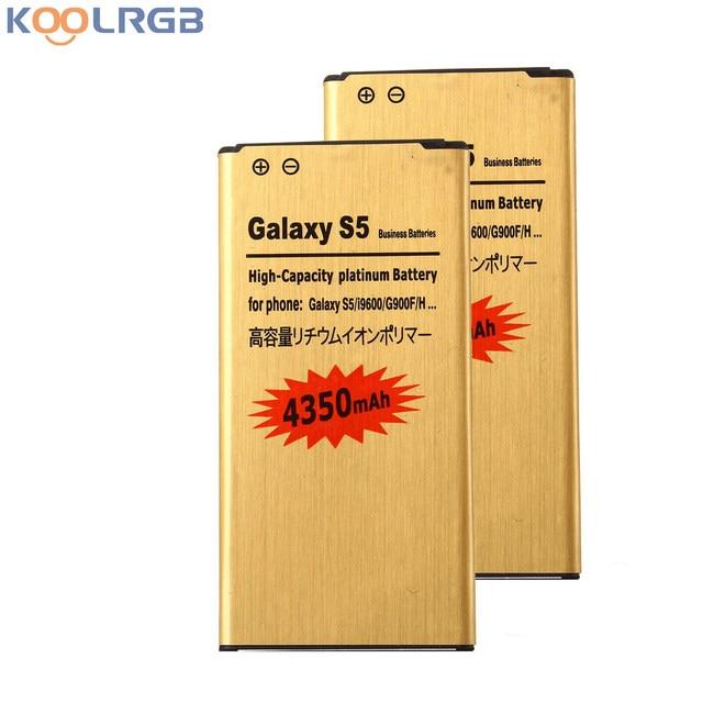 2 PCS GOLD Premium For Samsung Galaxy S5 SM-G900V Battery High Capacity EB-BG900BBU EB-BG900BBE 4350 mAh